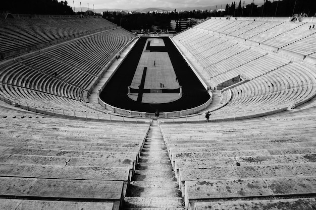 An empty large stadium with the field