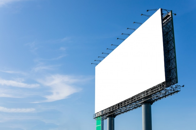 Empty large white advertising billboard
