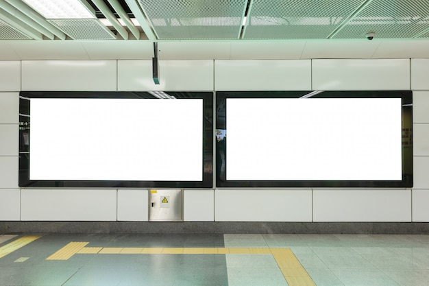 Empty large white advertising billboards