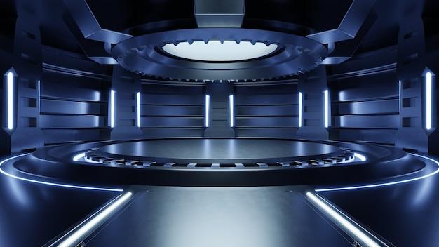 Пустая светло-голубая комната, футуристическая научная фантастика, большой зал с голубыми огнями, будущее для дизайна, 3d-рендеринг