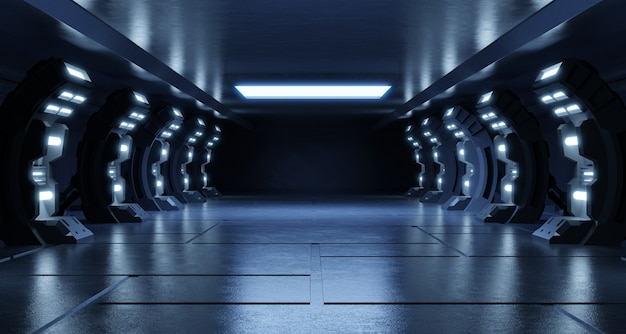 Empty light blue studio room futuristic sci fi big hall room with lights blue, future  for design.