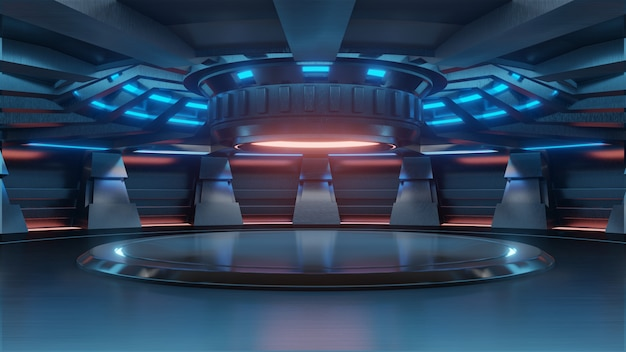 NeckeS-ov stan. Empty-light-blue-studio-room-futuristic-sci-fi-big-hall-room-with-lights-blue_41470-389