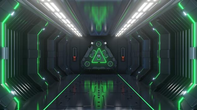 Empty light green studio room futuristic sci fi big hall room with lights blue