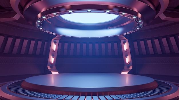 空のライトレッドブルースタジオルーム未来的なインテリア、3dレンダリング