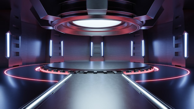 Empty light red studio room futuristic sci fi big hall room with lights red, future background for design,3d rendering