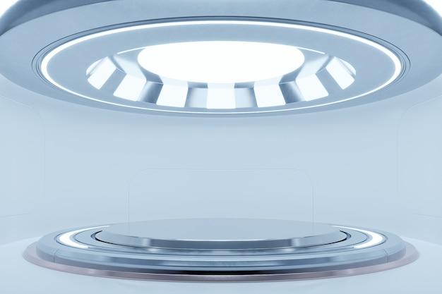 빈 빛 흰색 스튜디오 룸 미래 공상 과학 소설 큰 홀 룸 조명 흰색, 3d 렌더링