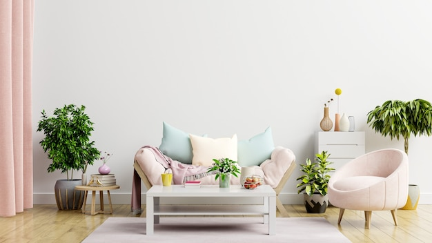 Пустой светлый белый фон стены, есть гостиная с диваном и креслом. 3d визуализация
