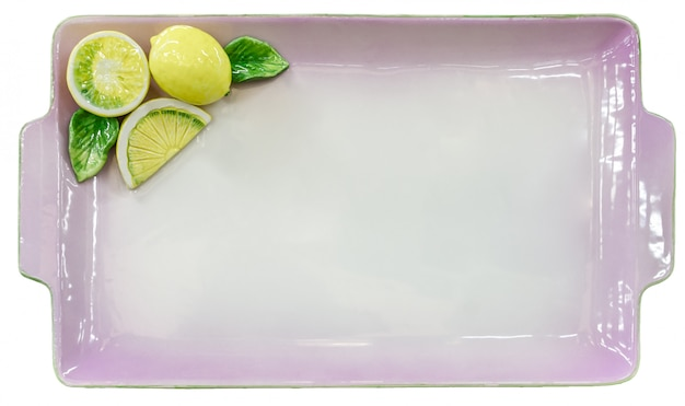 Empty lilac tray with lemons on white