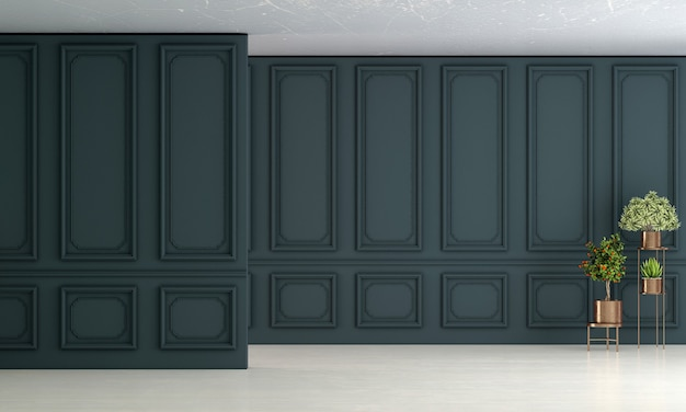 空のリビングルームのインテリアデザインと青いパターンの壁の背景
