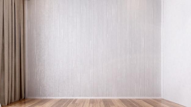 Пустая гостиная дизайн интерьера и текстура белой деревянной стены