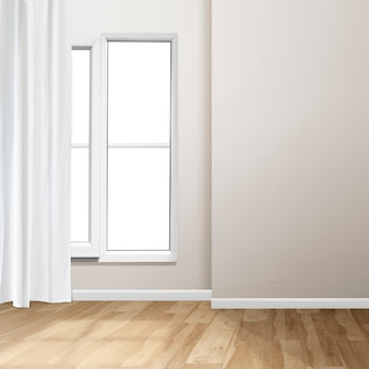 창문과 흰색 커튼이 있는 빈 거실 인테리어 디자인