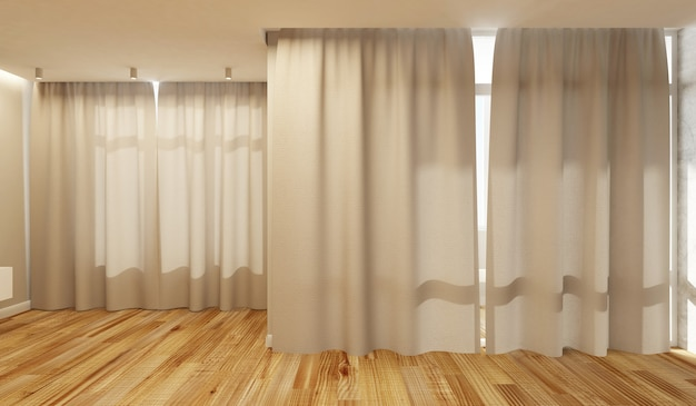Empty living room interior in light tones with closed curtains