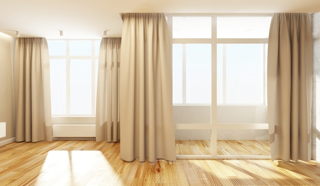 Empty living room interior in light tones with open curtains