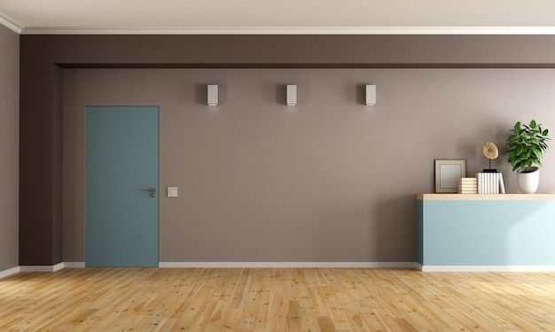 灰色の壁と空のリビングルーム