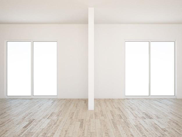 나무 바닥과 회색 벽과 빈 거실