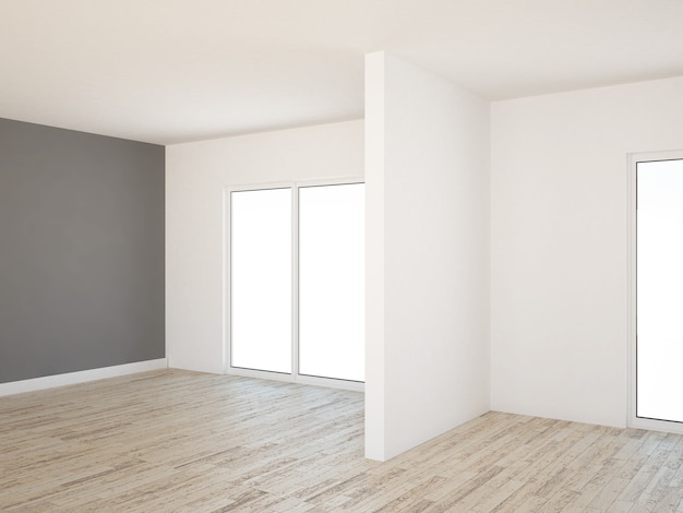 Empty living room with hardwood floor and gray wall