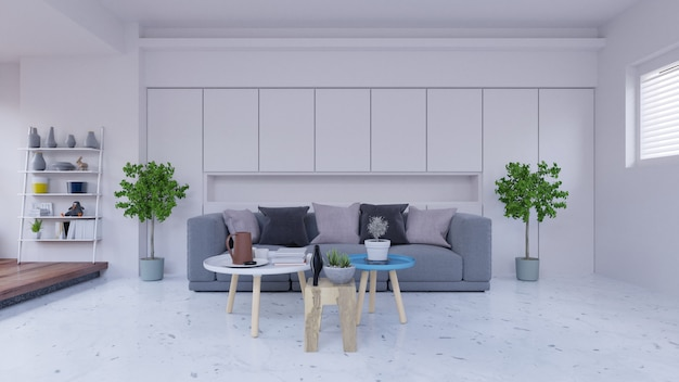 Empty living room with sofa ,lamp,cabinet,plants,and white wall in the background,3d rende