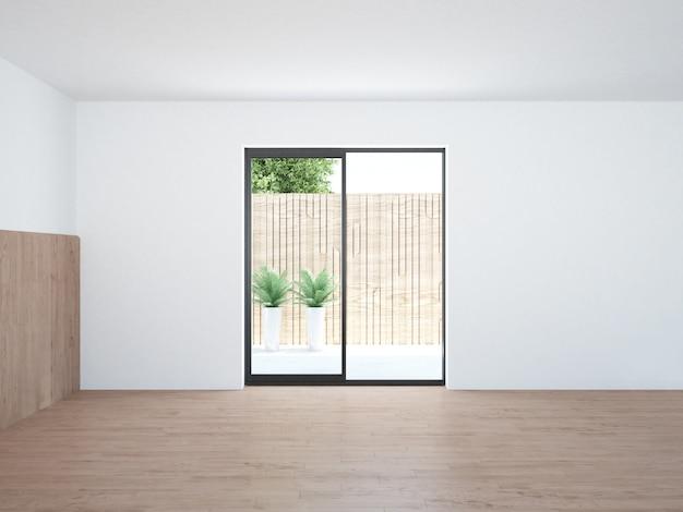 Bakyard에서 볼 수있는 terrece 창 빈 거실