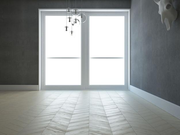 白い壁のソファとウィンドウの空のリビングルーム