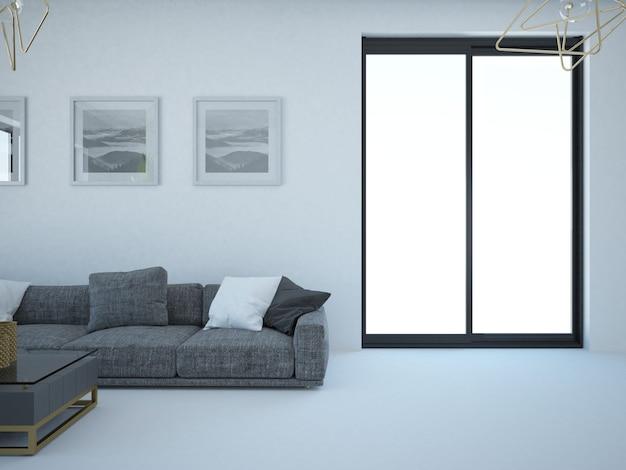Пустая гостиная с белым настенным диваном и окном