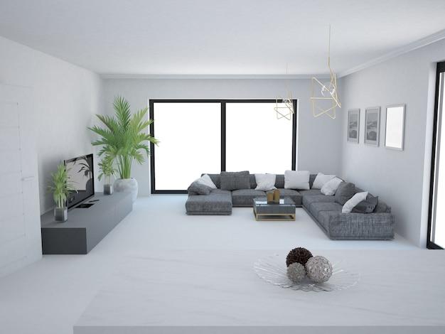 흰 벽 소파와 창 빈 거실