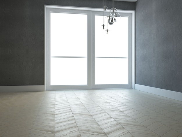 Empty living room with white wall sofa and window