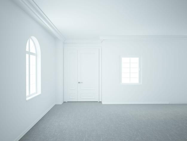 窓とドアのある空のリビングルーム