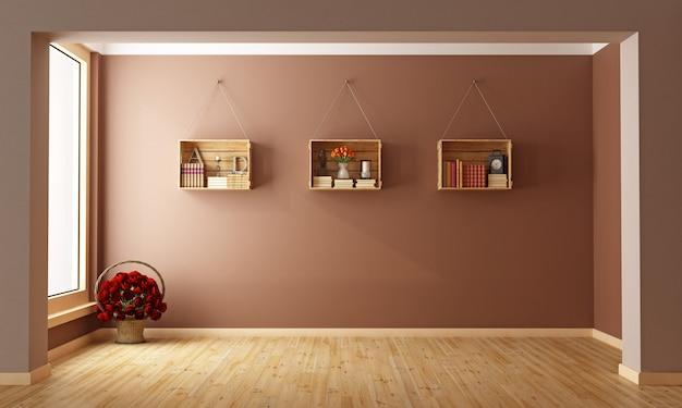 本棚として使用される木箱と空のリビングルーム