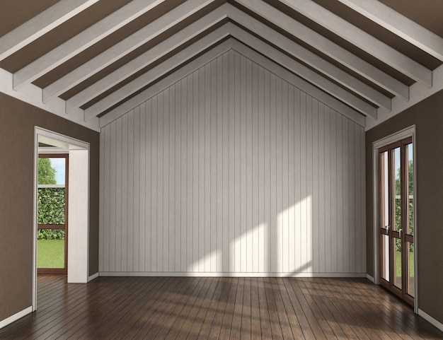 Empty living room with wooden wall, large windows and roof beams