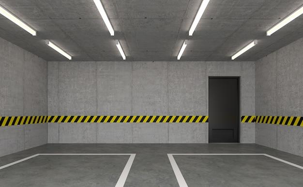 빈 로프트 차고 3d 렌더링검은 문이 있는 광택 콘크리트 방이 있습니다.