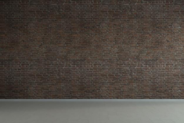 古いレンガの壁と空のロフト産業グランジインテリア