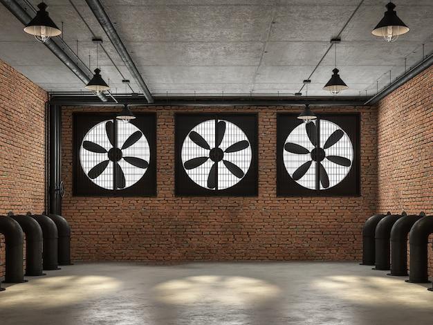 空のロフトルーム3dレンダリングコンクリートの床があります壁には大きな黒い換気扇があります