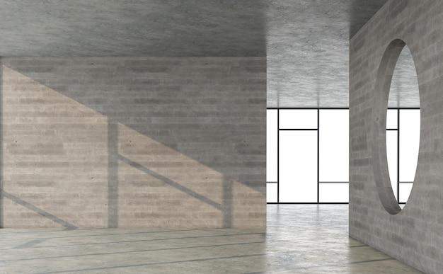 部屋の3dレンダリングで日光が輝く空のロフトスタイルのコンクリートの部屋