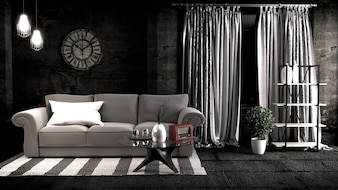 Empty Loft style, room interior design