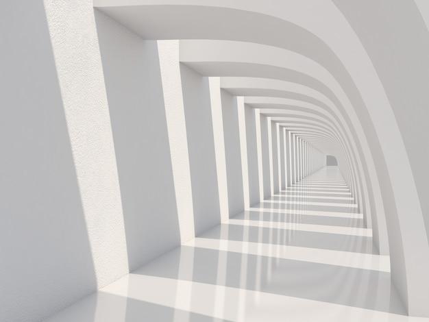 日光と影のある空の長い廊下白いトンネルの背景dレンダリング