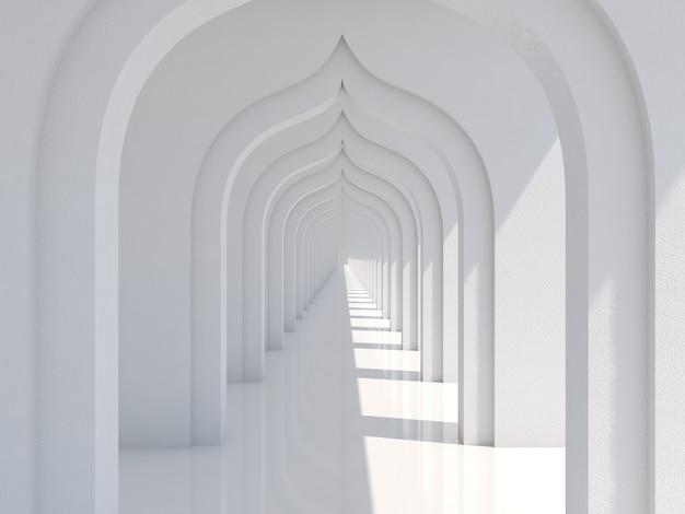 日光と影の白いトンネルの背景と空の長い廊下