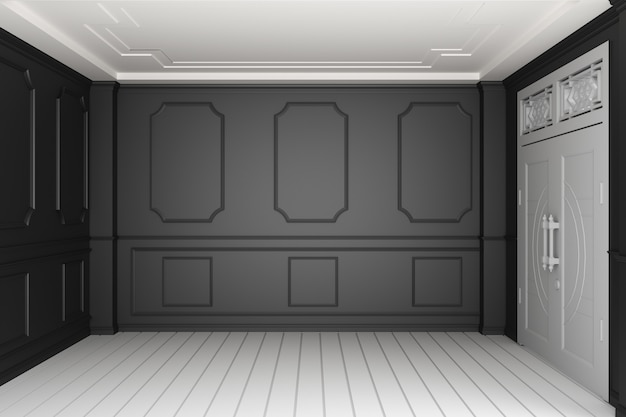 Empty luxury room interior with black wall on white wooden floor. 3d rendering