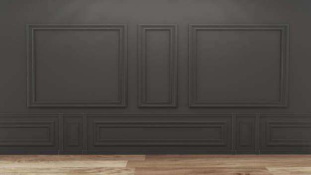 Empty luxury room interior with black wall on wooden floor. 3d rendering