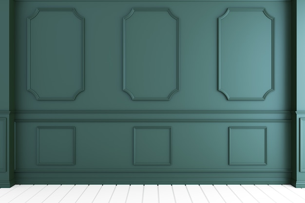 Empty luxury room interior with dark green wall on white wooden floor. 3d rendering