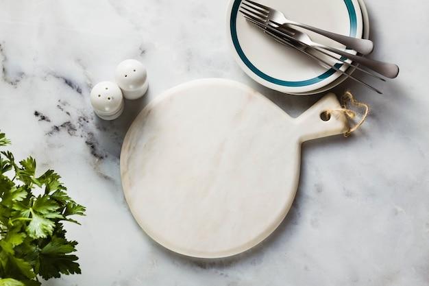 Empty marble cutting board