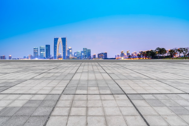 The empty marble floor and the city of suzhou.