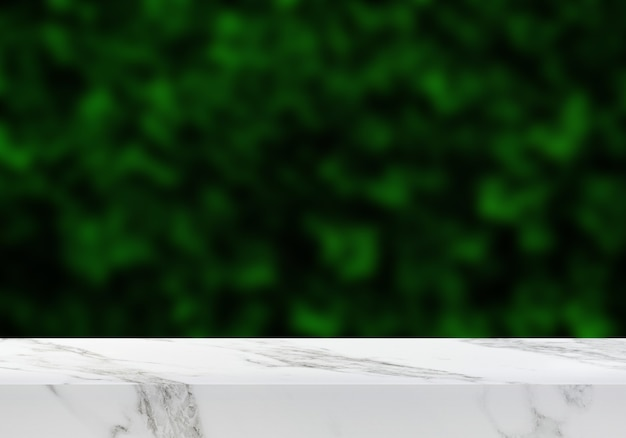 정원 녹색 잎 배경 제품 배경에서 빈 대리석 테이블