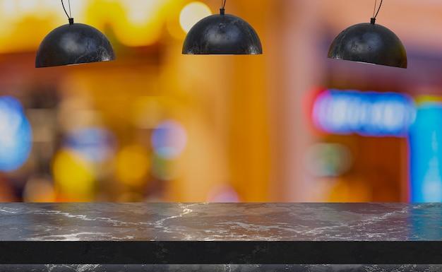 Пустой мраморный стол для демонстрации продуктов перед рестораном
