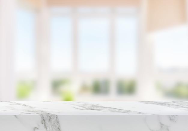 リビングルームの窓の背景製品の背景の近くの空の大理石のテーブル