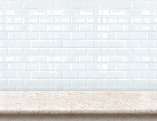 Empty marble table top with glossy ceramic white tile wall.