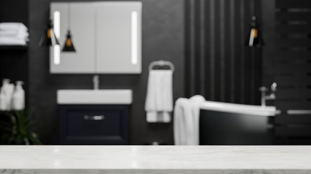 Пустая мраморная столешница для монтажа в современном роскошном черном интерьере ванной комнаты 3d-рендеринга
