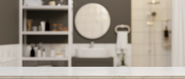 Empty marble tabletop for montage mockup over modern comfortable bathroom 3d rendering