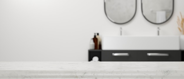 Empty marble tabletop with space for montage over blurry modern stylish bathroom interior