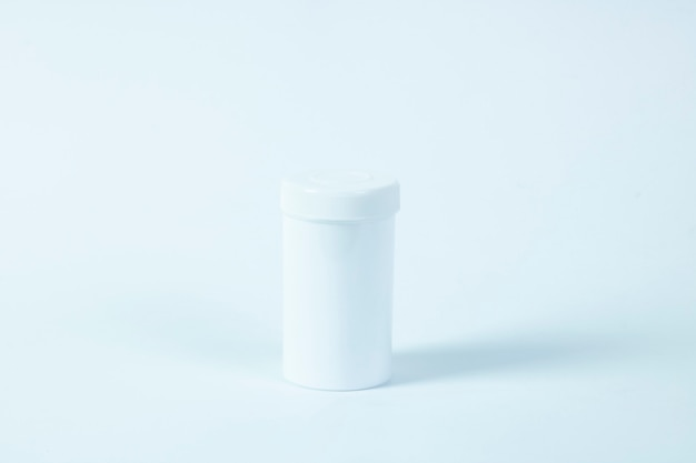 Empty medicine pill bottle copy space texture isolated