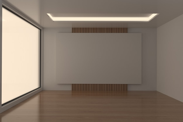 Empty meeting room dark tone in 3d rendering